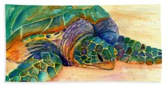 Hand Towel featuring the painting Turtle At Poipu Beach 7 by Marionette Taboniar
