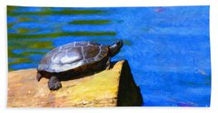 Turtle Basking In The Sun Hand Towel