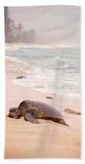 Turtle Beach Hand Towel by Heather Applegate