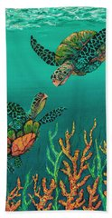 Bath Towel featuring the painting Turtle Love by Darice Machel McGuire
