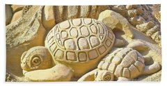 Turtle Sand Castle Sculpture On The Beach 999 Hand Towel