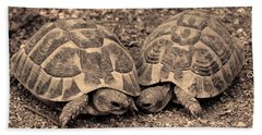 Hand Towel featuring the photograph Turtles Pair by Gina Dsgn