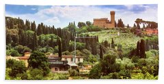 Tuscan Fields And Old Castle In Florence Hand Towel