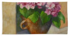 Tuscan Flower Pot Oil Painting Hand Towel