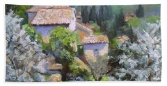 Bath Towel featuring the painting Tuscan  Hilltop Village by Chris Hobel