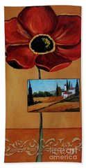 Tuscan Poppy Postcard Bath Towel