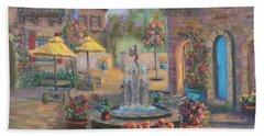 Beautiful Tuscan Villa Flower Garden Fountain Painting Hand Towel