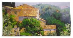 Bath Towel featuring the painting Tuscan Village by Chris Hobel