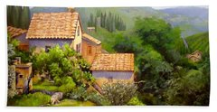 Bath Towel featuring the painting Tuscan Village Memories by Chris Hobel