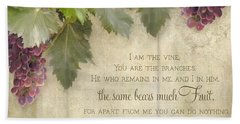 Tuscan Vineyard - Rustic Wood Fence Scripture Bath Towel by Audrey Jeanne Roberts