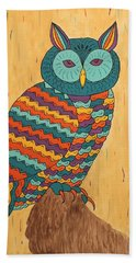 Bath Towel featuring the painting Tutie Fruitie Hootie Owl by Susie WEBER