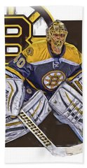 Tuukka Rask Boston Bruins Oil Art 1 Hand Towel by Joe Hamilton