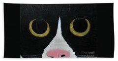 Tux Portrait  Hand Towel by Reina Resto