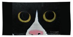 Bath Towel featuring the painting Tux Portrait  by Reina Resto
