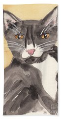 Bath Towel featuring the painting Tuxedo Cat With Attitude by Terry Taylor