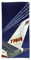 Twa Star Stream Jet - Minimalist Vintage Advertising Poster Bath Towel