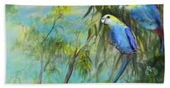 Hand Towel featuring the painting Two Pale-faced Rosellas by Ryn Shell