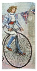 Tweed Run Lady In Blue On Penny Farthing  Bath Towel by Mark Jones