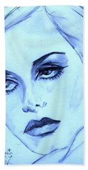 Twiggy In Blue Hand Towel by P J Lewis