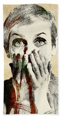 Twiggy Surprised Hand Towel by Mihaela Pater