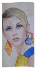 Twiggy The 60's Fashion Icon Hand Towel by Kelly Mills