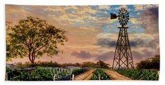 Twilight At The Vineyard Hand Towel by Ron Chambers