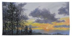 Hand Towel featuring the painting Twilight Meadow by Kathleen McDermott