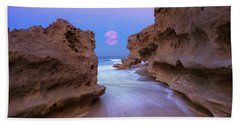 Twilight Moon Rising Over Hutchinson Island Beach Rocks Hand Towel