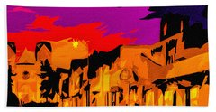 Twilight On The Plaza Santa Fe Hand Towel