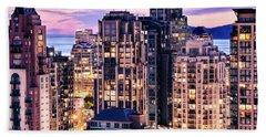 Twilight Over English Bay Vancouver Hand Towel