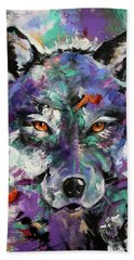 Twilight Purple Wolf Bath Towel