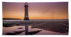 Twilight Reflection, New Brighton Lighthouse Bath Towel