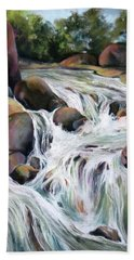 Bath Towel featuring the painting Twin Falls by Rae Andrews