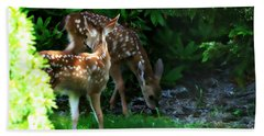 Bath Towel featuring the photograph Twin Fawns by Katie Wing Vigil