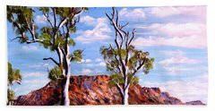 Hand Towel featuring the painting Twin Ghost Gums Of Central Australia by Ryn Shell