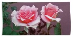 Twin Pink Roses Hand Towel