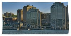 Twin Purdy Towers Of Halifax Hand Towel by Ken Morris