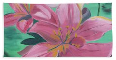 Hand Towel featuring the painting Twinkle Petals by Meryl Goudey