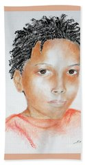 Twists, At 9 -- Portrait Of African-american Boy Hand Towel