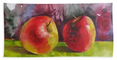 Hand Towel featuring the painting Two Apples by Elena Oleniuc