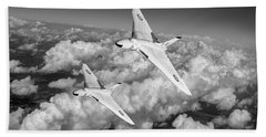 Hand Towel featuring the photograph Two Avro Vulcan B1 Nuclear Bombers Bw Version by Gary Eason