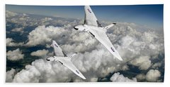 Hand Towel featuring the photograph Two Avro Vulcan B1 Nuclear Bombers by Gary Eason