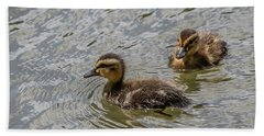 Two Baby Ducks Hand Towel by Ray Congrove