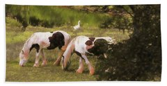 Two Beautiful Gypsy Vanner Horses Grazing In A Pasture.two White Bath Towel