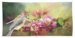 Two Birds Admiring The View Bath Towel by Janette Boyd