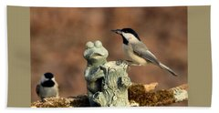Two Black-capped Chickadees And Frog Bath Towel by Sheila Brown