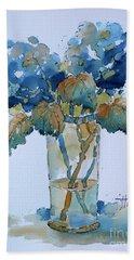 Two Blue Hydrangea Bath Towel