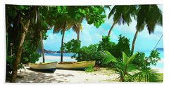Two Boats On Tropical Beach Bath Towel