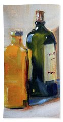 Hand Towel featuring the painting Two Bottles by Nancy Merkle