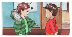 Two Boys At Music School Hand Towel